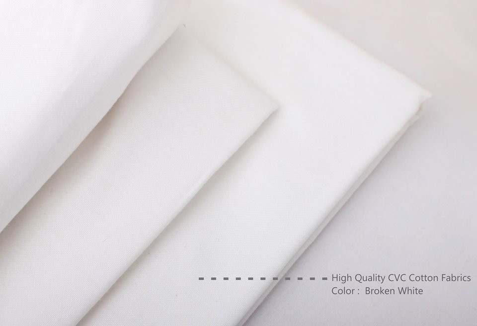 Bahan Kain Sprei Cotton CVC Warna Broken White