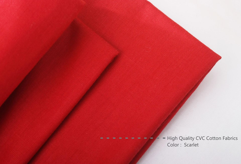 Bahan Kain Sprei Cotton CVC Warna Merah Scarlet High Quality