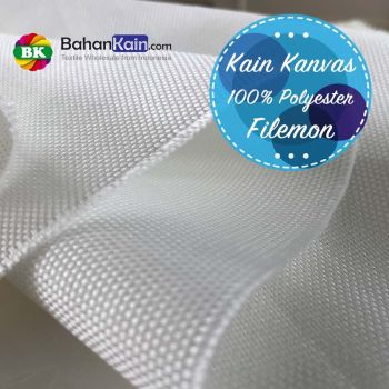 Kain Kanvas Filemon Polyester Putih - Ready for Dyeing