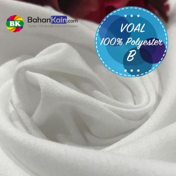 Kain Voal B Putih Optik 100% Polyester - Digital Print Fabric