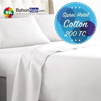 Sprei Hotel Katun 200 Thread Count Putih