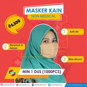 Masker Kain Non-Medical Anti Air Harga Per Dus (1000 PCS)
